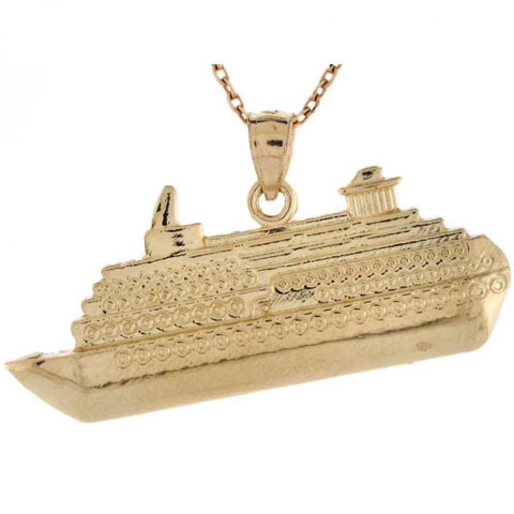 14k Real Gold Cruise Ship Travel Memory Charm Pendant