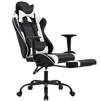 Ergonomic Office Chair PC Gaming Chair Desk Chair Executive PU Leather  Computer Chair Lumbar Support with Footrest Modern Task Rolling Swivel  Chair ...