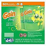 Gain Flings Laundry Detergent Pacs, Original Scent, 120 ct. (pack of 6)