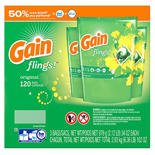 Gain Flings Laundry Detergent Pacs, Original Scent, 120 ct. (pack of 6) by GAIN