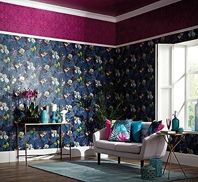 Arthouse, Pindorama Tropical Floral Flower Wallpaper, Navy Blue