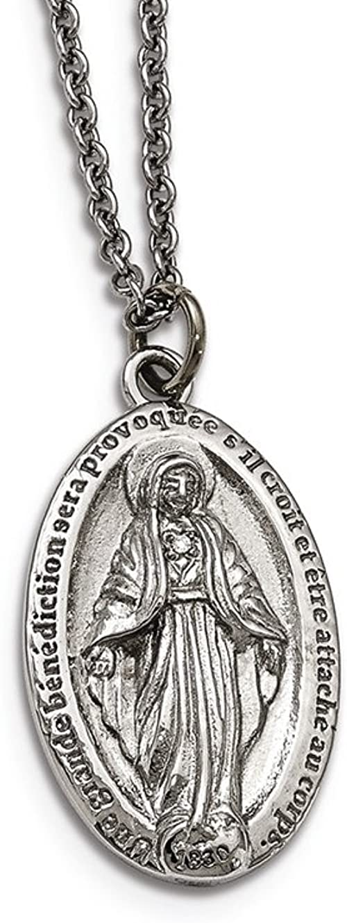 Chisel Stainless Steel Polished Miraculous Medal Reverse Necklace 18/""