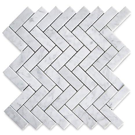 Stone Center Online Carrara White Marble 1x3 Herringbone Mosaic Tile Honed For Kitchen Backsplash Bathroom Flooring Shower Surround Dining Room Entryway Corrido Spa 1 Sheet Industrial Scientific