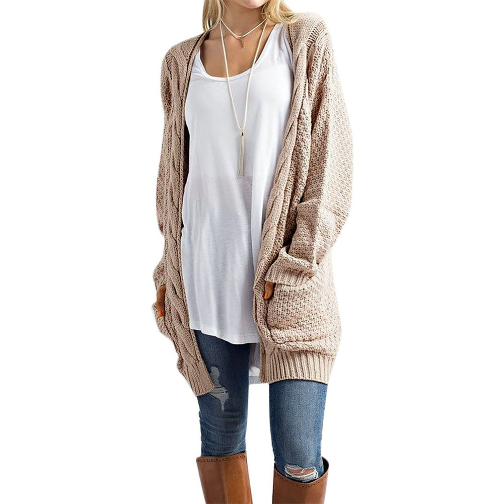 c9f13e0a20 Amazon.com  Women s Boyfriend Cardigan Long Sleeve Casual Knit Pockets Open  Front Cardigan Sweater Khaki XXL  Clothing