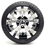 Golf Cart 12'' ''Vampire'' SS Gloss Black and Machined 215/35-12 or 215/50-12 DOT Golf Cart Tire Combo - - Set of 4 (215/35-12, Metric Lugs)