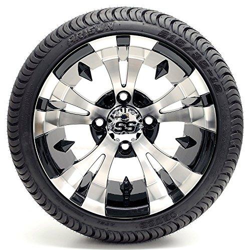 "Golf Cart 12″ ""Vampire"" SS Gloss Black and Machined 215/35-12 or 215/50-12 DOT Golf Cart Tire Combo – – Set of 4 (215/35-12, Standard Lugs)"