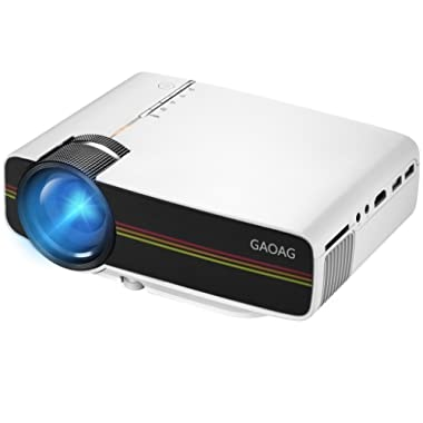 GAOAG Projector Portable Video + 20% Lumens Multimedia Home Theater Movies Projector Support HDMI VGA AV USB 1080P MicroSD TV, Laptops, Party, Games Android Smartphones