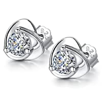 Hosaire 1 Pair Womens Girls Heart-shaped Earrings Fashion Cute Crystal Diamond Glittering Stud Earrings Gift