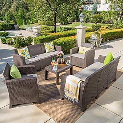 Great Deal Furniture Jaimaca Outdoor 5 Piece Brown Faux Wicker Rattan Style Chat Set with Sofa and Mixed Beige Water Resistant Cushions - This versatile outdoor ensemble is perfect for parties and can be arranged in endless ways according to your mood. Both frame and wicker are made from polypropylene providing you with a low maintenance, easy to assembly, rust-resistant, and easy to clean set Sculpted to provide the ultimate comfort, its wicker-style supports and water resistant fabric cushions will last for years and years. Includes: One (1) Sofa, One (1) Loveseat, Two (2) Club Chairs, and One (1) Coffee Table Loveseat Dimensions: 25.82 inches deep x 67.70 inches wide x 29.92 inches high Club Chair Dimensions: 25.82 inches deep x 26.77 inches wide x 29.92 inches high Seat Width: 20.75 inches Seat Depth: 19.25 inches Seat Height: 15.00 inches Table Dimensions: 19.88 inches deep x 27.55 inches wide x 15.00 inches high - patio-furniture, patio, conversation-sets - 611jIdRFRFL. SS400  -