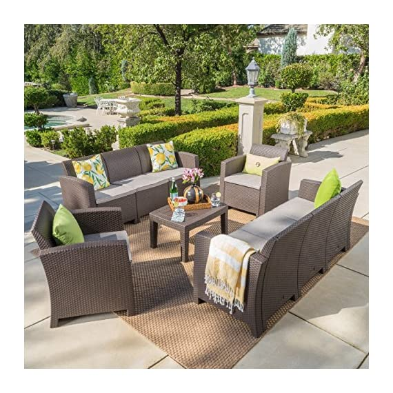 Great Deal Furniture Jaimaca Outdoor 5 Piece Brown Faux Wicker Rattan Style Chat Set with Sofa and Mixed Beige Water Resistant Cushions - This versatile outdoor ensemble is perfect for parties and can be arranged in endless ways according to your mood. Both frame and wicker are made from polypropylene providing you with a low maintenance, easy to assembly, rust-resistant, and easy to clean set Sculpted to provide the ultimate comfort, its wicker-style supports and water resistant fabric cushions will last for years and years. Includes: One (1) Sofa, One (1) Loveseat, Two (2) Club Chairs, and One (1) Coffee Table Loveseat Dimensions: 25.82 inches deep x 67.70 inches wide x 29.92 inches high Club Chair Dimensions: 25.82 inches deep x 26.77 inches wide x 29.92 inches high Seat Width: 20.75 inches Seat Depth: 19.25 inches Seat Height: 15.00 inches Table Dimensions: 19.88 inches deep x 27.55 inches wide x 15.00 inches high - patio-furniture, patio, conversation-sets - 611jIdRFRFL. SS570  -
