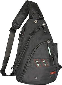 Larswon Sling Backpack, Sling Bags, Crossbody Bag For Men, Tablet Bags Black