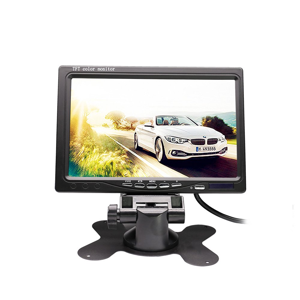 RAAYOO S7-001 7 inch High Definition TFT LCD Monitor Display Screen for Car Rear View Camera with 2 Optional Bracket,2 Way Video Input,12V/24V Wide Voltage