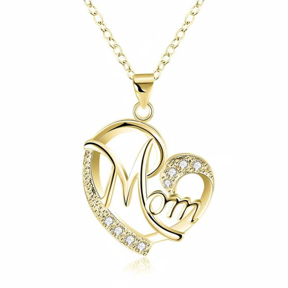 Oillian Women Personality Retro Exquisite Mom's Love Shaped Commemorate Necklace Pendant Hollow Minimalist Gift for mom (GD)