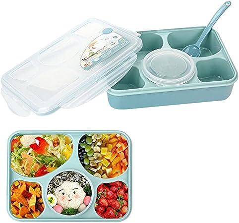 Lunch Cajas 5 compartimentos Bento Box caño Segura, microondas resistente Lunch de caja, caja de desayuno para camping Escuela Oficina barriles alimentarios pingena neer azul: Amazon.es: Hogar