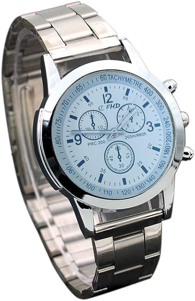 Reloj de Hombre,Pwtchenty Reloj análogo de Cuarzo Tres Ojos Fleje de ...