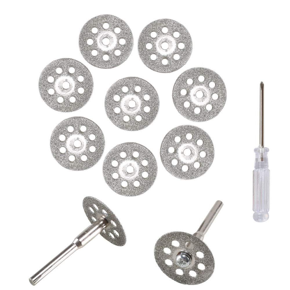 ETSAMOR Ruedas de corte 10pcs disco de corte de diamante cristal hoja de sierra circular Dremel cuchillas adecuado para ruedas y discos abrasivos 22 mm +2pcs 402 ejes + destornillador cristal