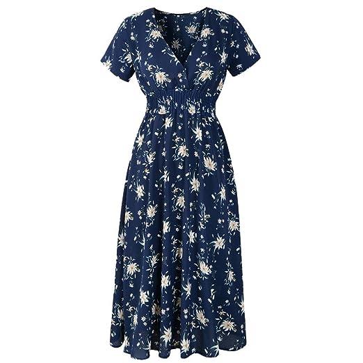 50cf8e874d iLH  Women s Maxi Dress Clearance Sale Women Dress Floral Print Dress  V-Neck Holiday Beachwear