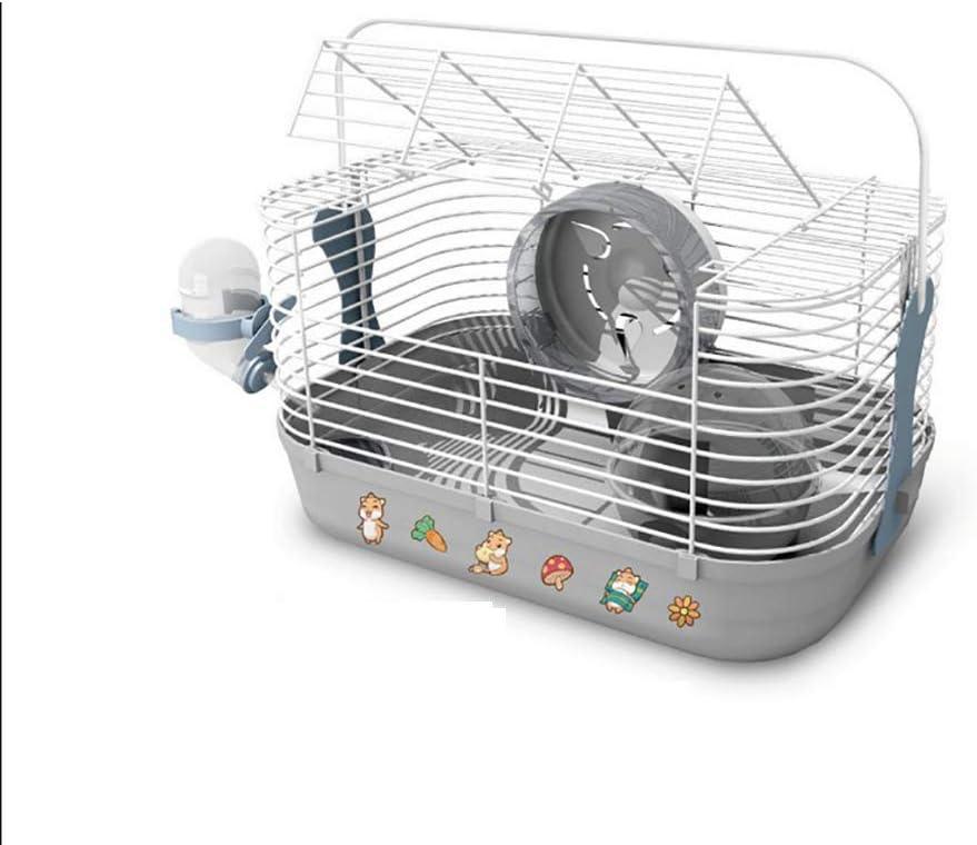HEISHOP Happy Little Paradise Hamster Villa de una Sola Planta con Suministros en Jaula de hámster, Gris
