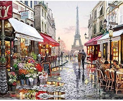 Hecho a Mano Pintura por números Cuadro sin Marco DIY Pintura al óleo Digital sobre Lienzo Cuadros Decoracion Pinturas murales Paris Flower Street 40x50cm sin Marco