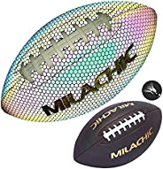 Holographic Reflective Glow Leather Football with Pump, Official Size 9 & Youth Size 6, Milachic Light up