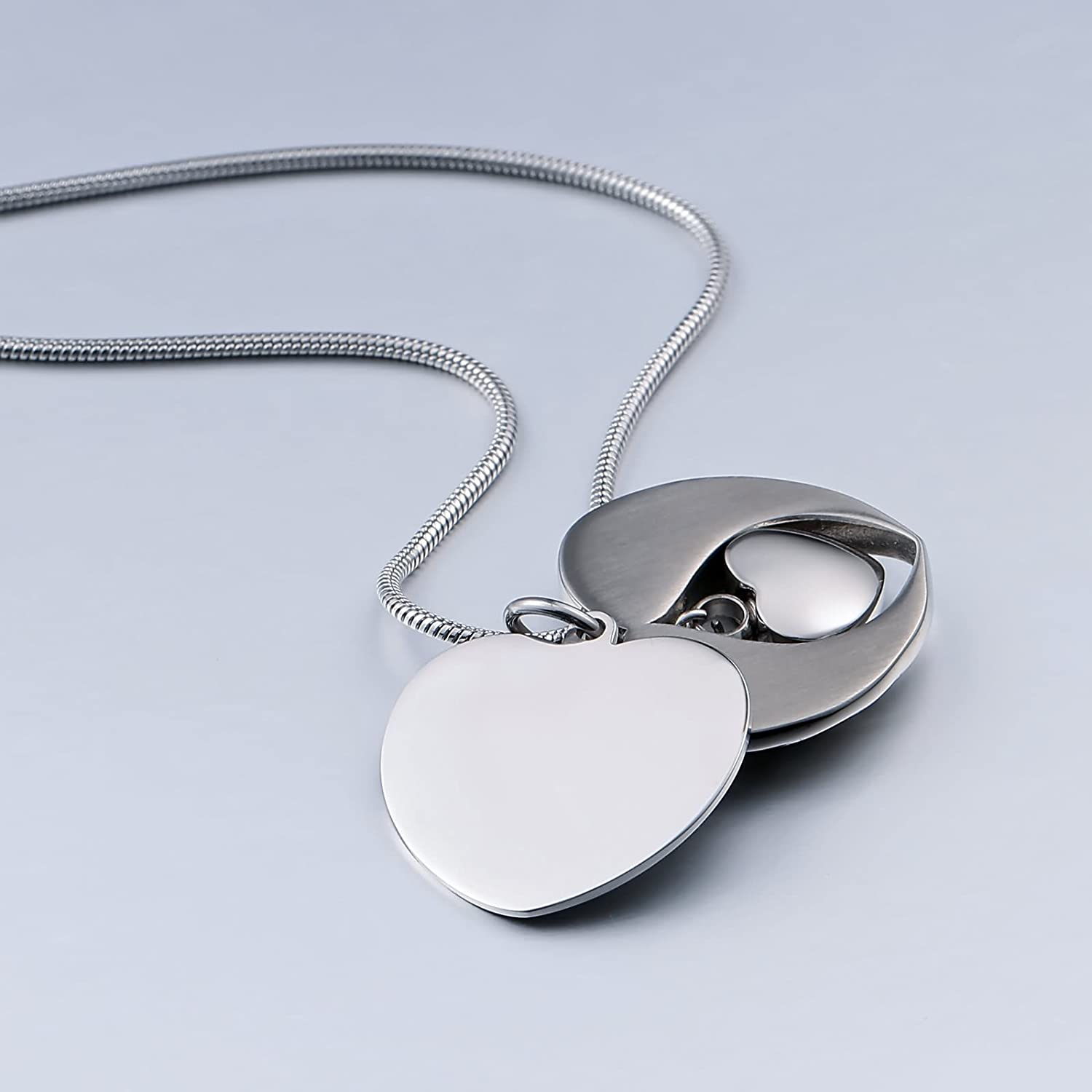 Beydodo Stainless Steel Memorial Necklace UrnEngravedAsh Necklace Urn Wings Heart Cremation Ash Necklace U1RMma