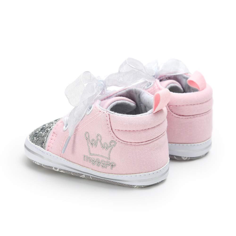Alamana Fashion Infant Baby Girls Bowknot Decor Soft Sole Prewalker Toddler Shoes Birthday Gift Silver 11cm