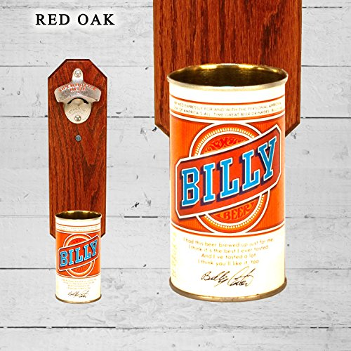 (Wall Mounted Bottle Opener with Vintage Billy Beer Can Cap Catcher)