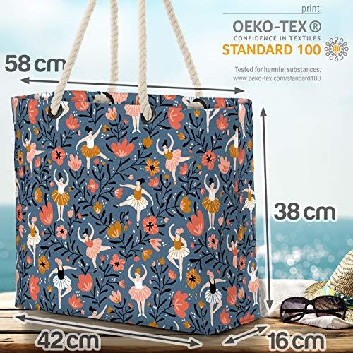 VOID ballett blommor strandväska Shopper 58 x 38 x 16 cm 23 L XXL shoppingväska väska resväska Beach Bag