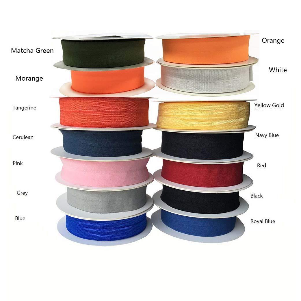Not Shiny-Black Soft Foldover Elastic Binding Webbing Tape not Shiny and Shiny 2cm Wide FOE Elastic Headband Baby Hairbow Craft Sewing
