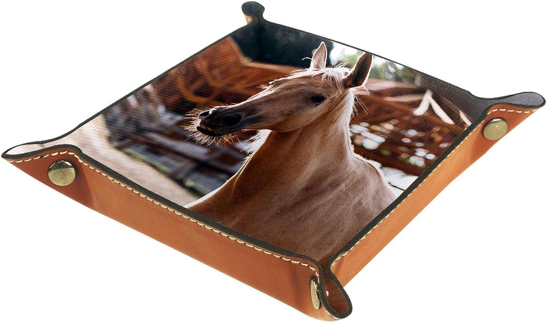 Bandeja de cuero para hombres y mujeres, organizador de escritorio personalizado para joyas, cosméticos, gafas, cartera, oficina, uso en el hogar, caballo marrón en el rancho