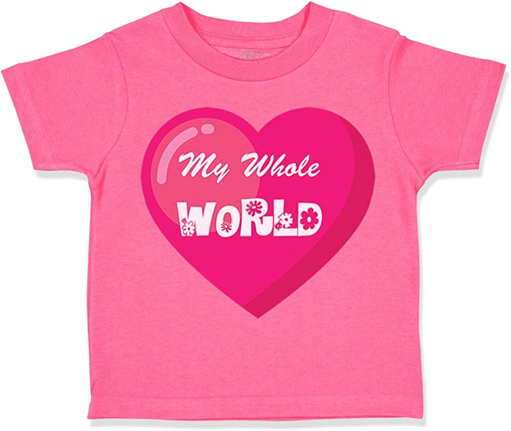 Custom Toddler T-Shirt My Whole World Like Pizza Funny Humor Boy /& Girl Clothes