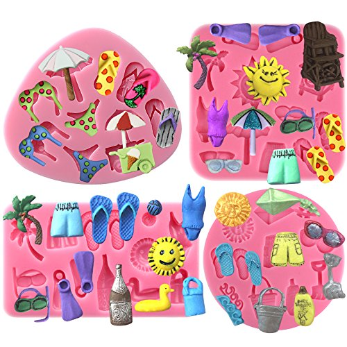 Funshowcase Summer Beach Holiday Fondant Silicone Mold for Cupcake Topper, Polymer Clay Crafting 4-Count ()