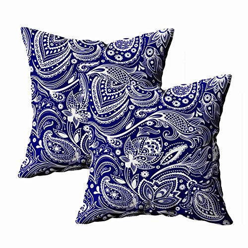 Shorping Christmas Zippered Pillow Covers Pillowcases 18x18Inch 2 Pack Blue White Vintage Floral Paisley Decorative Throw Pillow Cover Pillow Cases Cushion Cover for Home Sofa - Blue Pillow Paisley