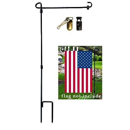 Yard Iron Flag Pole Stand  Outdoor Garden Decor Flags Stake Banner Bracket Home