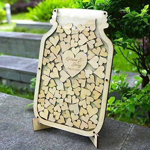 Personalized Mason Jar Wedding Guestbook Drop Box Wood