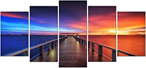 Pyradecor Sunset Bridge Canvas Prints Wall Art Seascape Ocean Picture Paintings Ready to Hang for Living Room Bedroom Home Decorations 5 Panels Modern Stretched Landscape Sea Artwork