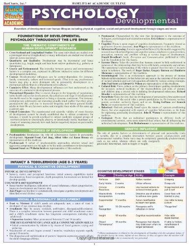 Psychology: Developmental (Life Span) (Quick Study Academic)