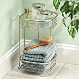 mDesign Free Standing Bathroom or Shower Storage Shelves for Towels, Soap, Shampoo, Lotion, Accessories - 2 Tier, Satin