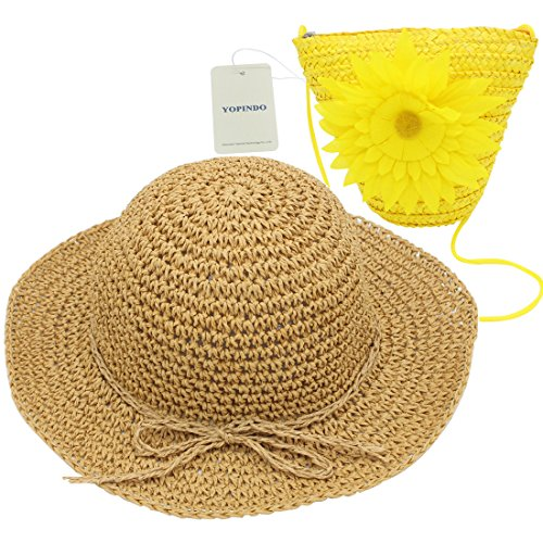 Sun Childrens Costume (YOPINDO Hat Purse Set Straw Sun Hat Foldable Beach Cap with Bag for 2-7 Years Girl (Yellow))
