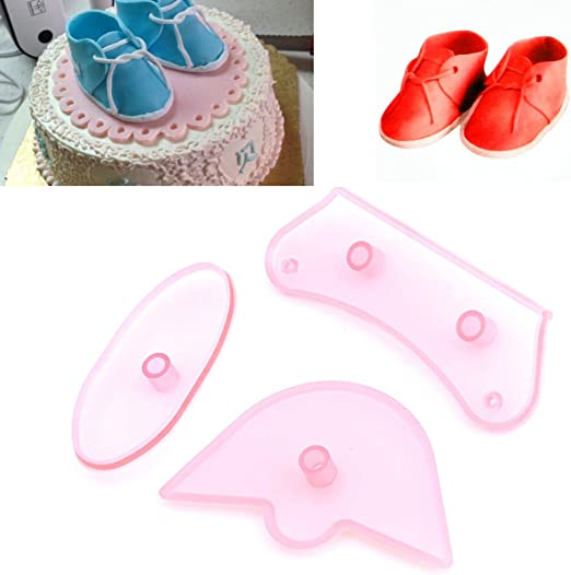 JEM Set of 3 LIFE SIZE BABY BOOTEE Shoe Icing Cutter Cut Out Sugarcraft Cake Dec