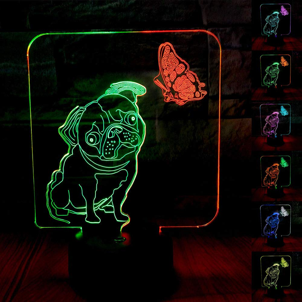 SZLTZK Christmas Gift Dual Color 3D LED Puppy & Butterfly Night Light 7 Color Touch Switch with Battery Compartment USB Cable Table Desk Baby Nursery Lamp Home Decor Birthday Present for Kid Boy Girl
