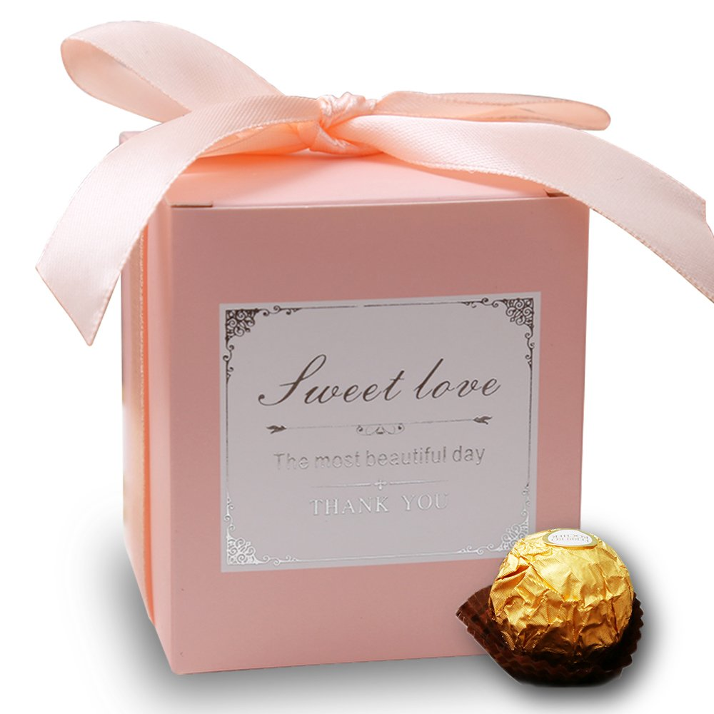 Amazon.com: Doris Home 50 pcs Pink Birthday Wedding Favor Candy ...