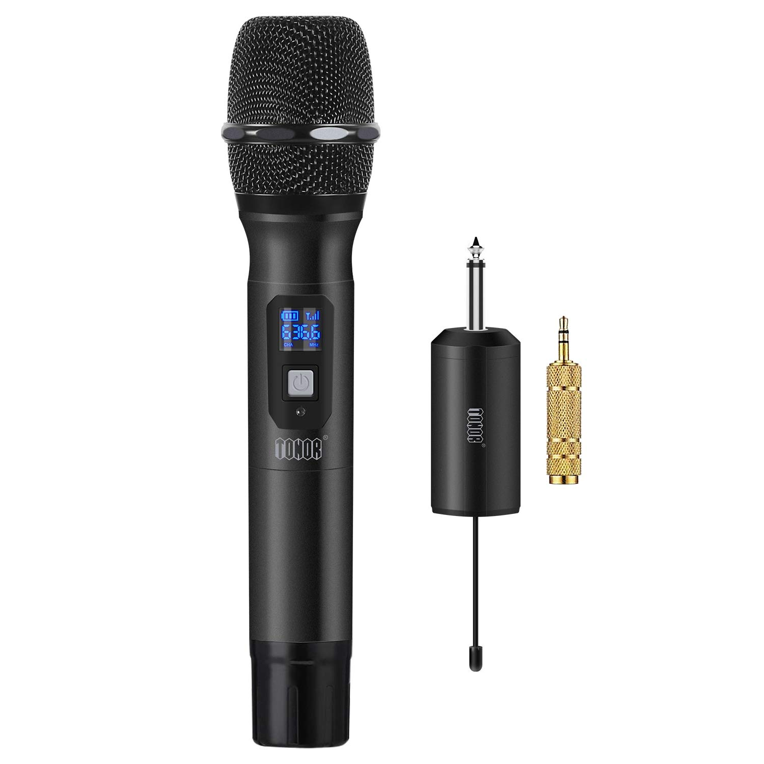 TONOR Wireless Microphone Metal Handheld Mic UHF 25 Channel with Mini Receiver 1/4'' Output for Stage/Church/Karaoke/Party/Business Meeting/PA Systems, Black by TONOR