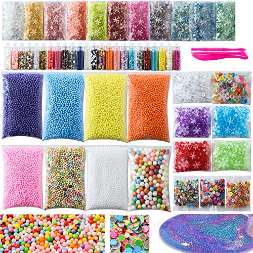 - Slime Supplies Kit, 56 Pack Slime Kit for Girls, Include Foam Balls, Fishbowl Beads, Glitter Jars, Fruit Slices, Sugar Paper, Slime Tools for Homemade Slime, DIY Slime Making