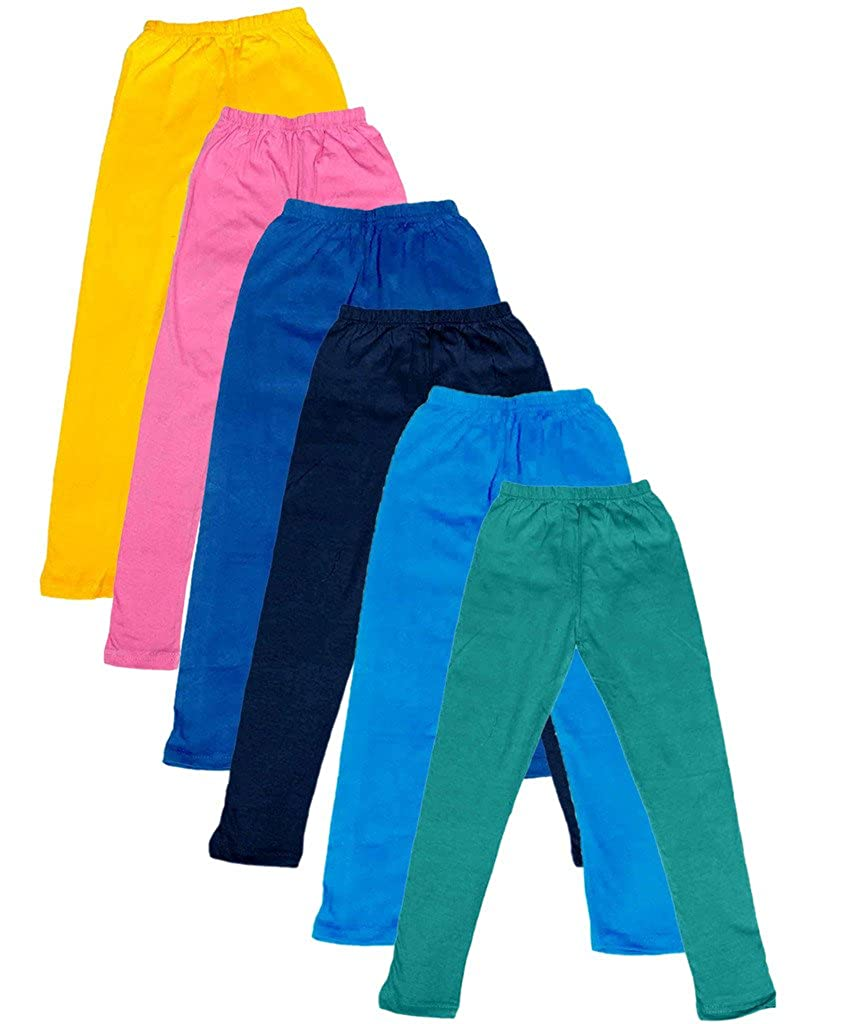 Pack of 6 Indistar Little Girls Cotton Full Ankle Length Solid Leggings -Multiple Colors-3-5 Years