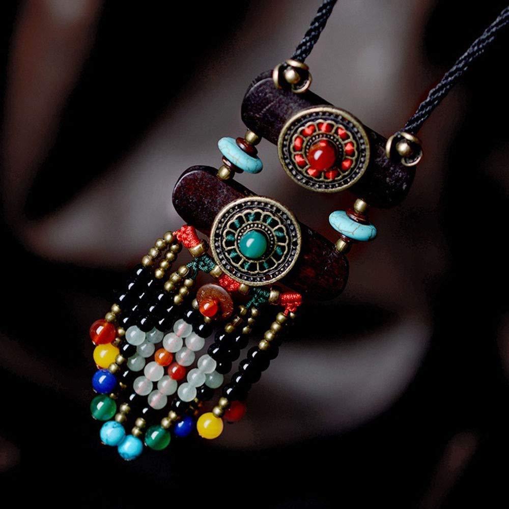 Ethnic Style  Vintage Wooden Bead Pendant Necklace Tibetan Sweater Necklace @ /&