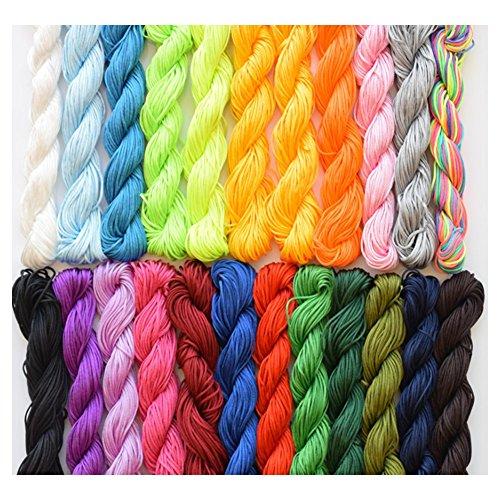 (Hand Knit Cord 1mm Nylon Macrame Chinese Knotting Cord Shamballa Ratail Bracelet Thread String 20PCS)