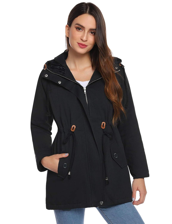 Parka à Capuche Manteau Femme Veste Longue Jacket Zippé Chaud Blouson Manches Longues Casual Sportif Hiver Printemps Automne à la Mode Noir