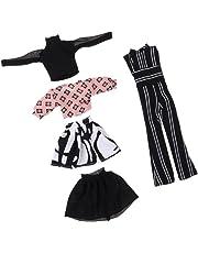 Fenteer Gonna Maglietta Pantaloni Pagliaccetti Abbigliamenti Costumo Casuale Vestiti per Bambola