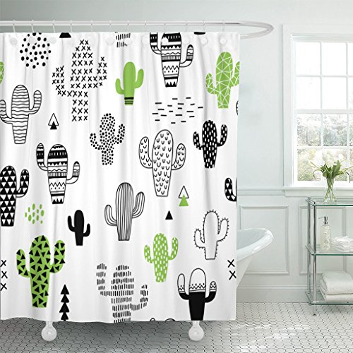 TOMPOP Shower Curtain Black Desert Cute Hand Drawn with Cactus Hipster Geometric Waterproof Polyester Fabric 72 x 72 inches Set with - Curtain Hipster Shower